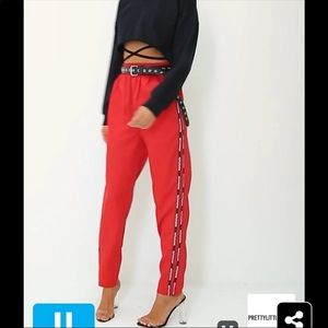 Prettylittlething red stripe track trousers